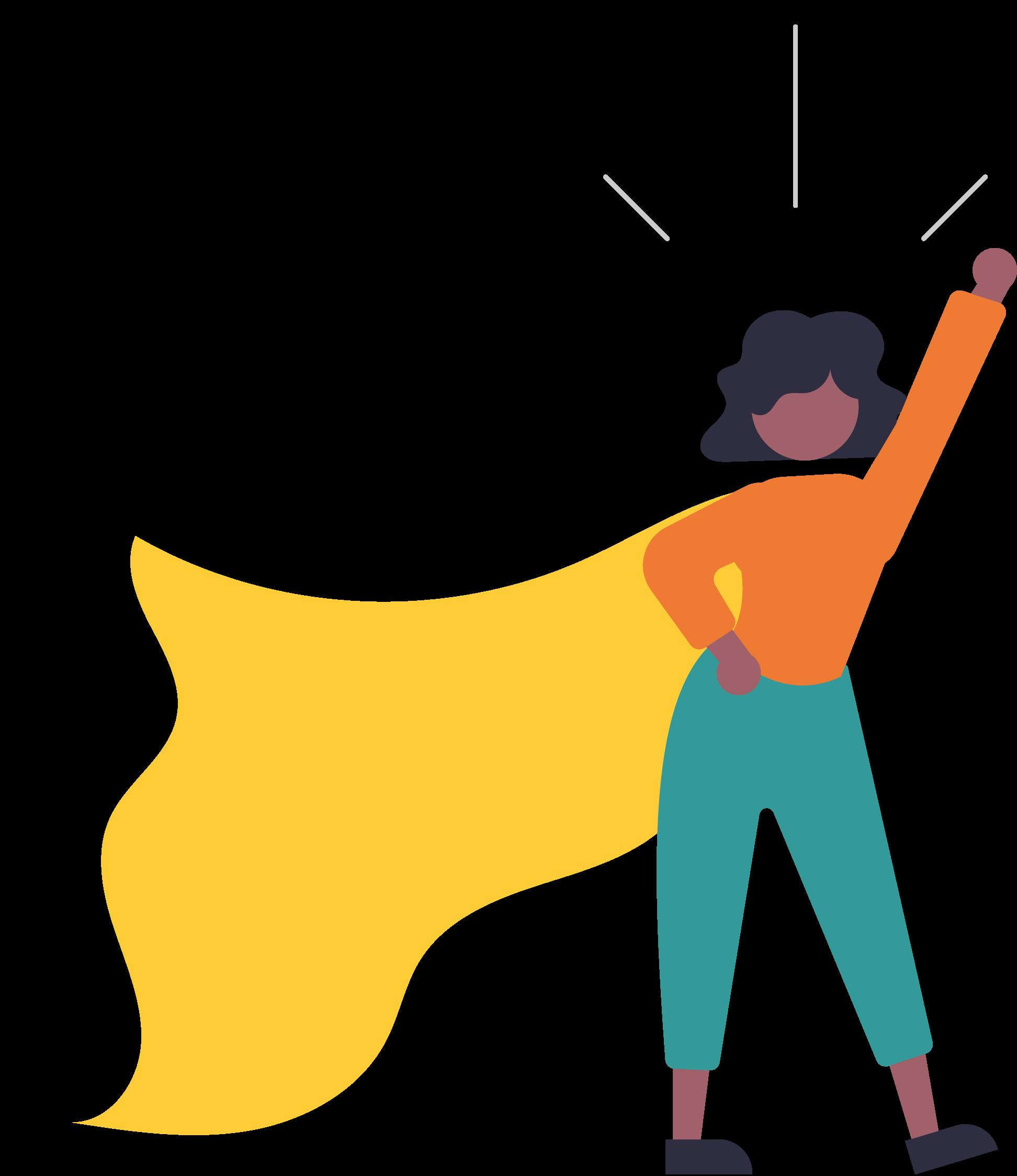 Eine Schwarze Frau hebt die Faust und trägt einen Superheldinen Umhang